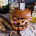 Jameson Whiskey Blue Cheese Burger w/ Guinness Cheese Sauce + Crispy Onion