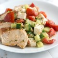 Lemony Chicken Breast Recipe with Cucumber Feta Salad