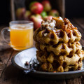 Overnight Cider Pumpkin Waffles w/Toasted Pecan Butter, Cider Syrup + Spice