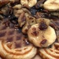 Pecan Waffles with Roasted Pecan And Banana Syrup