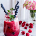Raspberry-Rhubarb Bellini Smoothie with Blueberries (Virgin...or not)