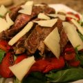 Seared Rib-eye Steak with Arugula-roasted Pepper Salad