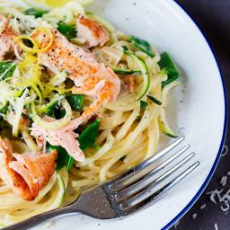 30 Minute Pan Fried Salmon with Creamy Lemon Spaghetti