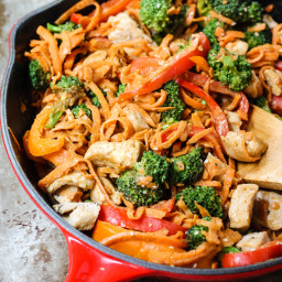 30-minute Spicy Thai Peanut Chicken and Sweet Potato Noodle Stir Fry