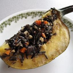 Acorn Squash Stuffed With Wild Rice, Hazelnuts, Cranberries