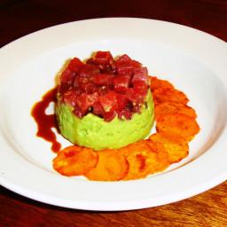Ahi Tuna and Avocado with Sweet Potato Chips and Ponzu Sauce
