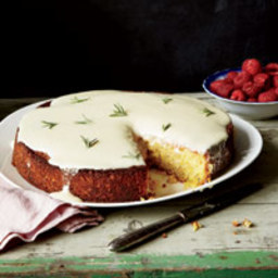 Almond Cake with Lemon and Crème Fraîche Glaze