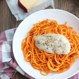 Almond-Gouda Sweet Potato Pasta with Baked Chicken
