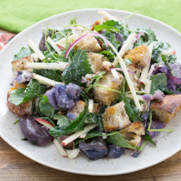 Apple and Blue Cheese Panzanella Saladwith Smashed Purple Potatoes