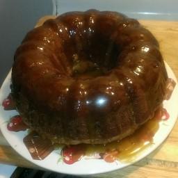 Apple Harvest Pound Cake with Caramel Glaze