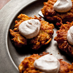 Apple-Potato Latkes With Cinnamon Sour Cream