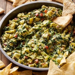 Artichoke Spinach Dip with Roasted Red Bell Peppers