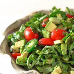 Arugula Salad with Avocados and Garlic Cilantro Vinaigrette