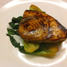Asian-glazed swordfish with baby bok choy