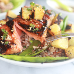 Asian Grilled Salmon Pineapple and Rice Lettuce Wraps