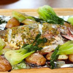 Asian Inspired Roasted Red Snapper and Braised Bok Choi