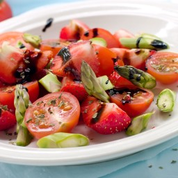 Asparagus and Cherry Tomato Salad with Berries and Melon