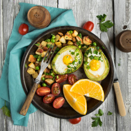 Avocado Baked Eggs with Parsnip, Pea, and Pancetta Hash