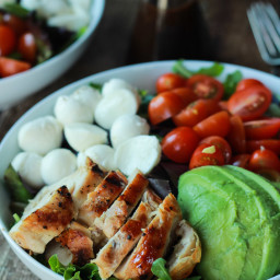 Avocado Caprese Chicken Salad with Balsamic Vinaigrette