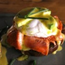 Avocado Salmon Benedict with Chive Oil
