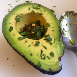 Avocado with Pesto and Red Pepper Flakes
