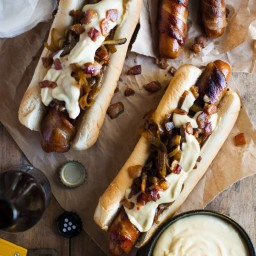 Bacon Wrapped Hot Dogs with Cheese Sauce