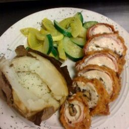 Bacon Wrapped Mushroom and Feta Cheese Stuffed Deep Fried Chicken