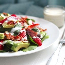 Bacon, Avocado  and  Strawberry Salad with Greek Yogurt Poppyseed Dressing