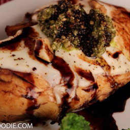Baked balsamic chicken with fresh mozzarella and basil pesto