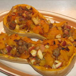 Baked Butternut Squash Stuffed With Apples and Sausage