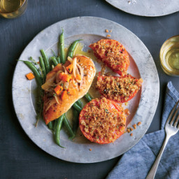 Baked Chicken Breasts with Dijon-White Wine Sauce and Haricots Verts