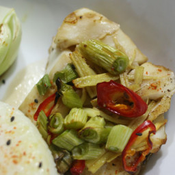 Baked cod loin with ginger and spring onion