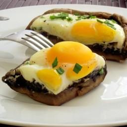 Baked Eggs & Herb in Portabella Mushroom Caps