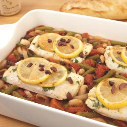 Baked Fish with Tomatoes, Beans and Olives