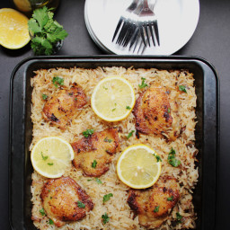 Baked Greek Chicken and Oregano Rice
