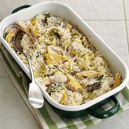 Baked haddock and cabbage risotto