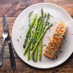 Baked Mustard-Crusted Salmon with Asparagus and Tarragon