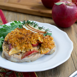 Baked Pork Chops with Apples, Cheddar, and Maple