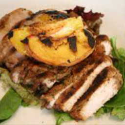 Balsamic marinated pork chops with grilled peaches