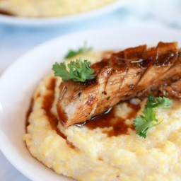 Balsamic Orange Glazed Chicken with Creamy Goat Cheese Polenta