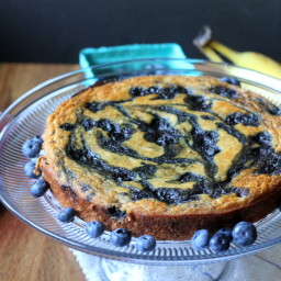 Banana Cake with Blueberry Compote Swirl