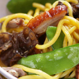 Barbecue duck stir-fry with snow peas and hokkien noodles