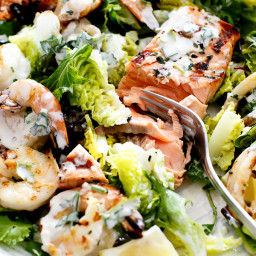 Barbecued Seafood Salad with Garlicky Greek Yogurt Dressing