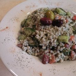 Barley, Tomato, and Cucumber Salad with Yogurt Dressing