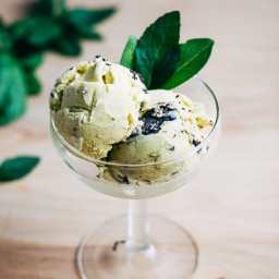 Basil and Mint Chocolate Chip Ice Cream