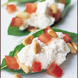 Basil Leaves Stuffed with Chevre and Pine Nuts