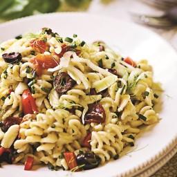 Basil Pesto Hummus Pasta Salad