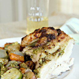 Basil Pesto Roasted Chicken and Vegetables
