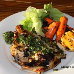 BBQ Chicken with Parsley, Lemon, Garlic Salsa