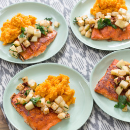 BBQ Salmon and Mashed Sweet Potatoeswith Celeriac-Apple Sauté